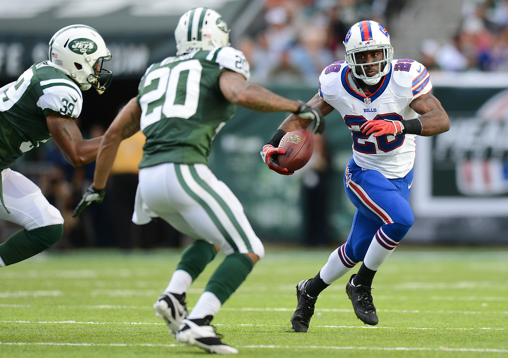 . Running back C.J. Spiller #28 of the Buffalo Bills carries the ball in the 1st half of the Jets game against the Buffalo Bills at MetLife Stadium on September 22, 2013 in East Rutherford, New Jersey. (Photo by Ron Antonelli/Getty Images)