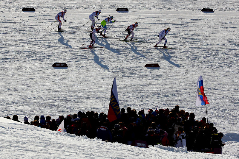 . Stina Nilsson of Sweden (R) of Sweden leads the pack in Finals of the Ladies\' Sprint Free during day four of the Sochi 2014 Winter Olympics at Laura Cross-country Ski & Biathlon Center on February 11, 2014 in Sochi, Russia.  (Photo by Doug Pensinger/Getty Images)