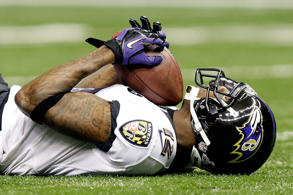 . Jacoby Jones #12 of the Baltimore Ravens catches a 56-yard pass before running in for the touchdown in the second quarter against the San Francisco 49ers during Super Bowl XLVII at the Mercedes-Benz Superdome on February 3, 2013 in New Orleans, Louisiana.  (Photo by Ezra Shaw/Getty Images)