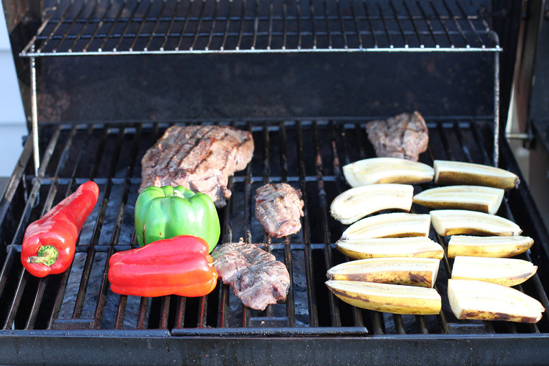 Grilled peppers, bananas and doll sheep that Craig hunted from Alaska.  It was amazing!