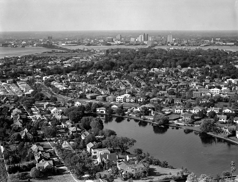 Aerial view of San Marco with downtown Jacksonville skyline in background in 1948.
