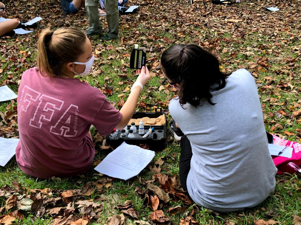 Students tested their knowledge of streams at Champion Creek at Lake Laurel.