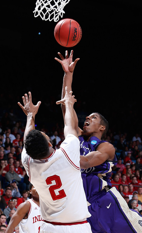 . DAYTON, OH - MARCH 22: Alioune Diouf #5 of the James Madison Dukes drives to the basket against Christian Watford #2 of the Indiana Hoosiers in the first half during the second round of the 2013 NCAA Men\'s Basketball Tournament at UD Arena on March 22, 2013 in Dayton, Ohio.  (Photo by Joe Robbins/Getty Images)