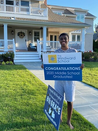 MMS Graduates with Celebratory Yard Signs