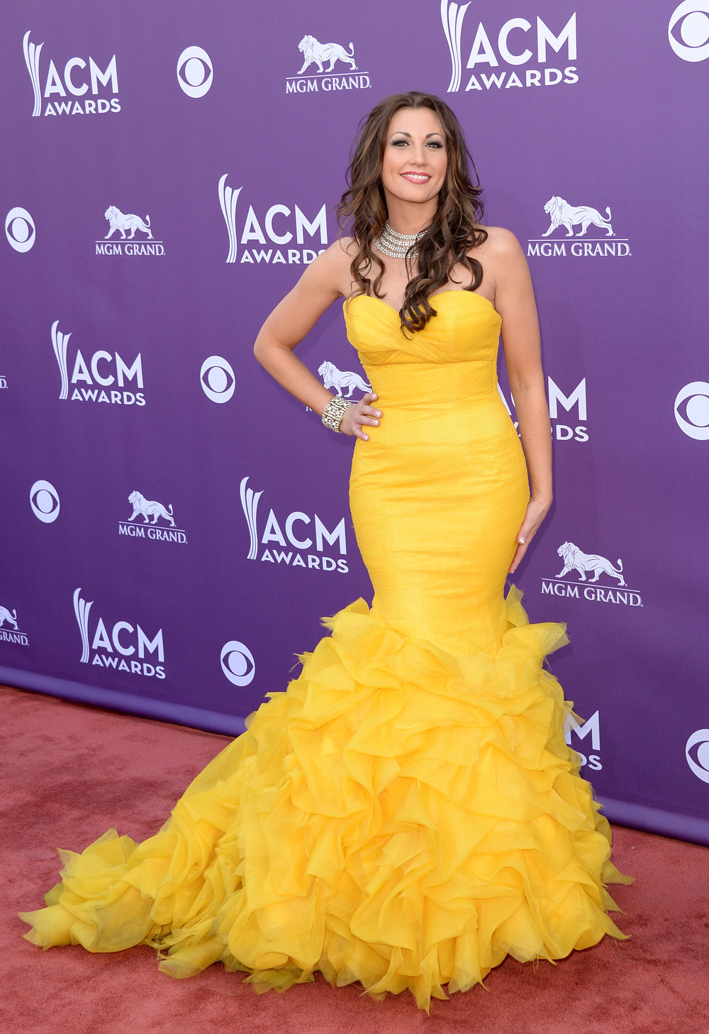 . Singer Danielle Peck attends the 48th Annual Academy of Country Music Awards at the MGM Grand Garden Arena on April 7, 2013 in Las Vegas, Nevada.  (Photo by Jason Merritt/Getty Images)