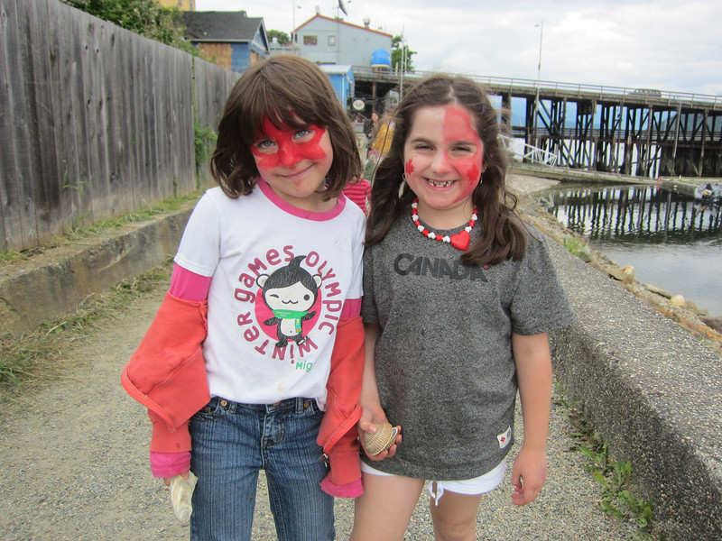 Patriotic girls in Gibsons, BC
