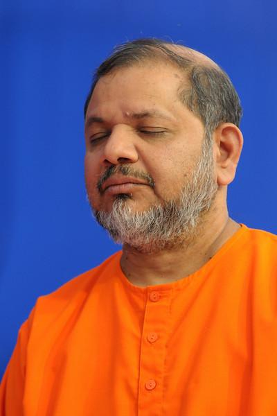 Swami Tejomayanandaji (Guruji) with eyes close in prayer and meditative form at Chinmaya Mission's International Camp, Dec 26th to Jan 1st, 2009 held at Chinmaya Vibhooti, Kolwan, Maharashtra, India.