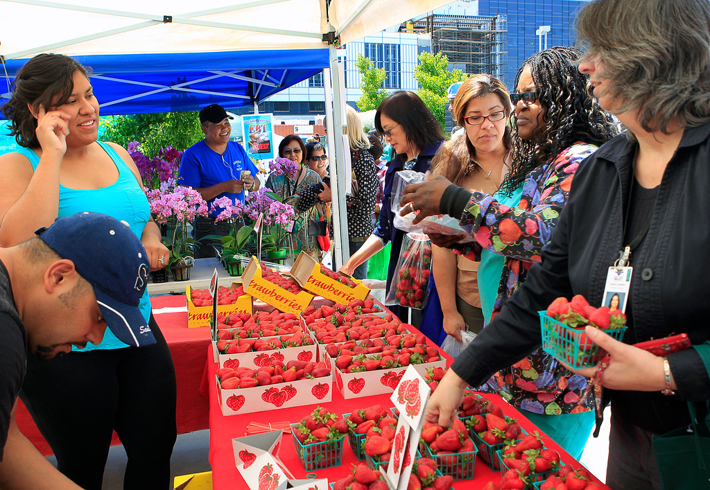 . Customers buy strawberries from Gilroy\'s Berry Licious fruit stand at the new Santa Clara Valley Medical Center Farmer\'s Market in San Jose, Calif. on Wednesday, May 15, 2013.  (LiPo Ching/Bay Area News Group)