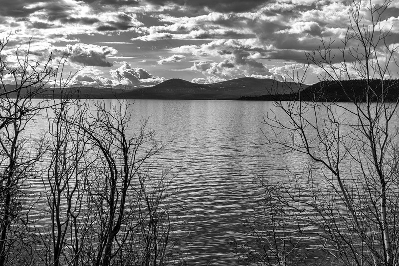 Lake Tahoe view from Nevada, black and white