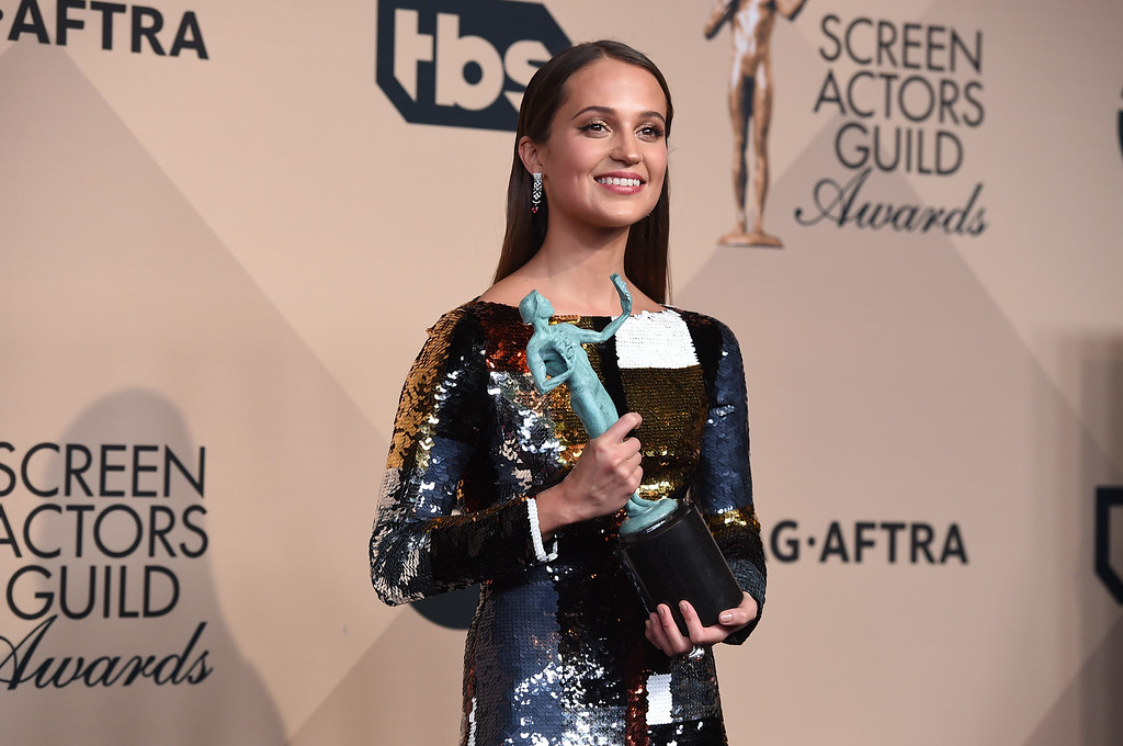 . Alicia Vikander accepts the award for outstanding female actor in a supporting role for ìThe Danish Girlî at the 22nd annual Screen Actors Guild Awards at the Shrine Auditorium & Expo Hall on Saturday, Jan. 30, 2016, in Los Angeles. (Photo by Jordan Strauss/Invision/AP)