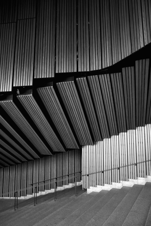 . Detail of plain brush box timber used on the walls of the interior and exterior of the concert hall at the Sydney Opera House on September 20, 2013 in Sydney, Australia.  On October 20, 2013 the iconic Sydney Opera House will celebrate 40 years since it was officially opened by Queen Elizabeth II in 1973.  (Photo by Cameron Spencer/Getty Images)