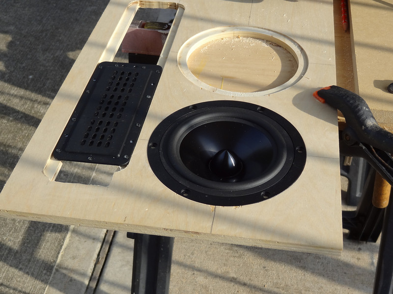 """I begin every major speaker project with a test baffle. In spite of careful measurements, this test baffle revealed the woofers can be spaced 1/8"""" closer to each other, and the cutout for the tweeters is 1/16"""" too wide. but the woofer cutout diameter is perfect."""
