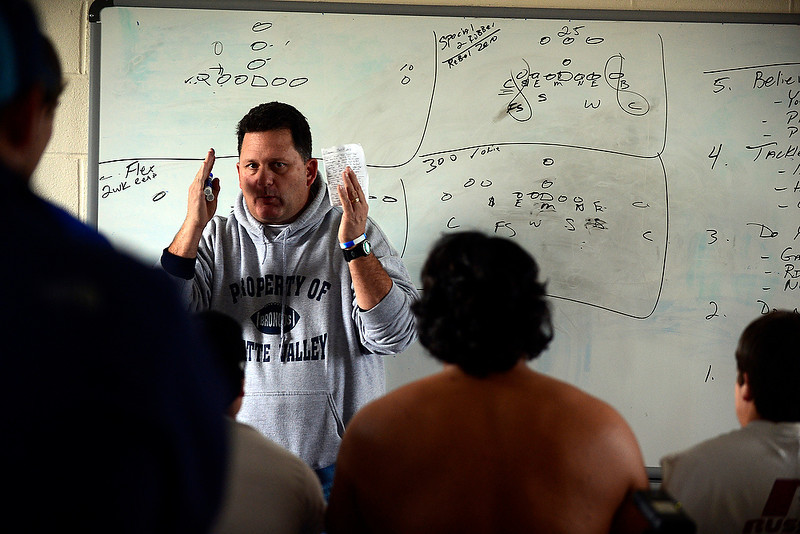 . Head coach Troy Hoffman gives his team a pre-game speech before their state title game against Kent Denver. AAron Ontiveroz, The Denver Post