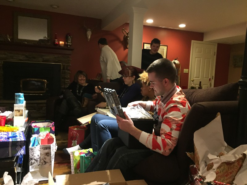 Schultz's opening their Christmas presents