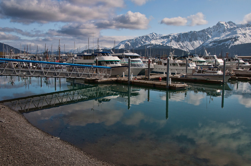 Seward harbor.  A majestic Alaska town nestled in the mountains.