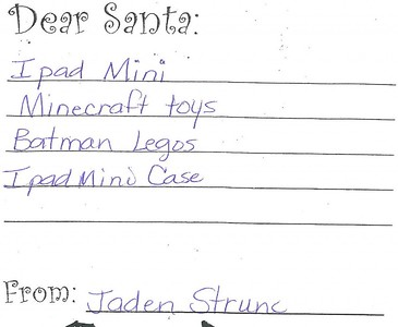 Mrs. McDole's kindergarten Letters to Santa, 12/14/2015