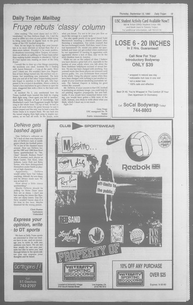 Daily Trojan, Vol. 113, No. 8, September 13, 1990