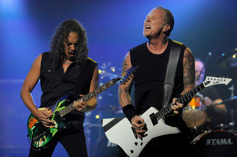 . Kirk Hammett, left, and James Hetfield of Metallica perform during the band\'s set at the 2013 Revolver Golden Gods Award Show at Club Nokia on Thursday, May 2, 2013 in Los Angeles. (Photo by Chris Pizzello/Invision/AP)