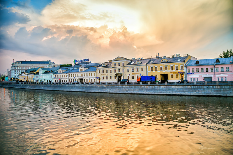 Sunset over the canals in Moscow