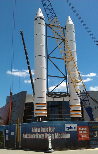 Solid rocket boosters (SRBs) that will accompany the new Space Shuttle Atlantis exhibit.