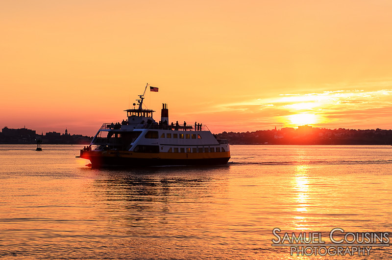 Casco Bay Lines ferry nearing Peaks Island just before sunset.