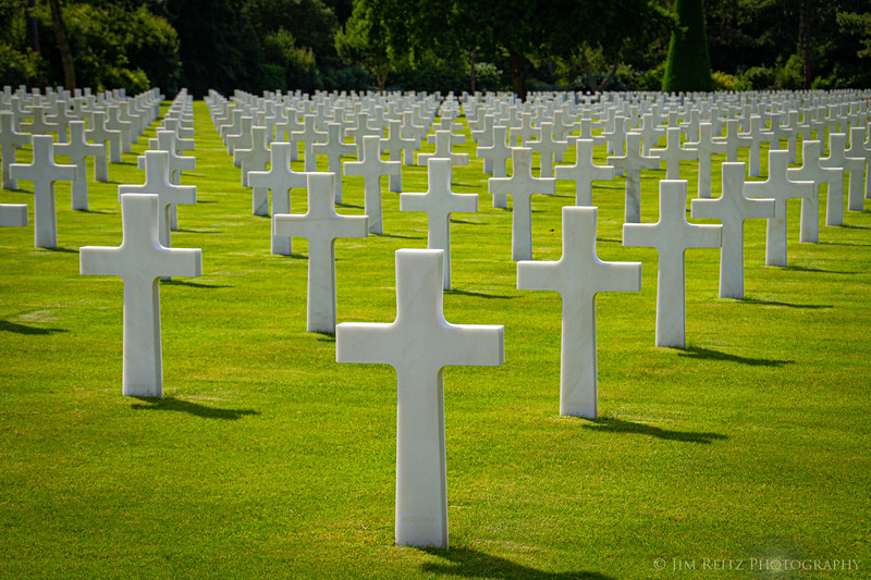 Grave markers at the American Cemetery in Normandy.