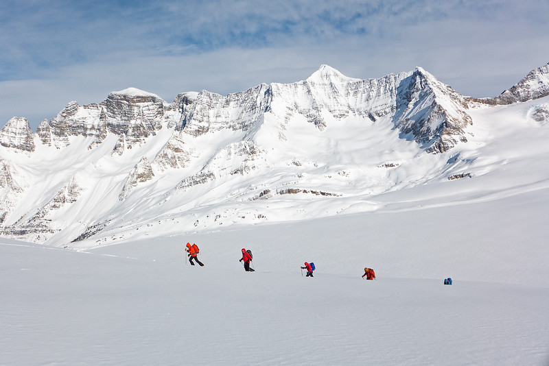 Final slopes to the High Col, above the icefield. Mount Freshfield is the white pyramid.