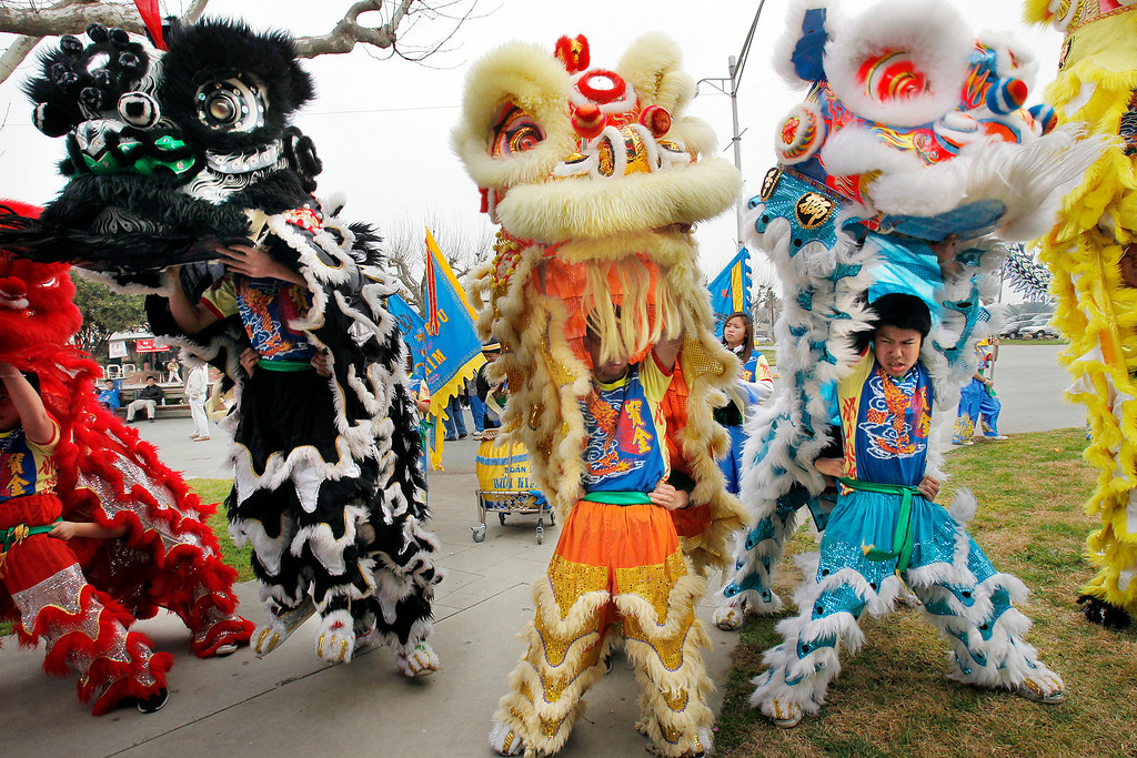 . The Buu Kim Lion Dance Group performs at the Tet festival hosted by the Coalition of Nationalist Vietnamese Organizations of Northern California (CONVONCA) at the Santa Clara County Fairgrounds in San Jose, Calif. on Saturday, February 2, 2013.   (LiPo Ching/Staff)