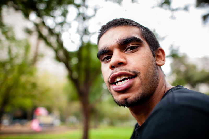 Young Aboriginal Australian Man with Black T-Shirt