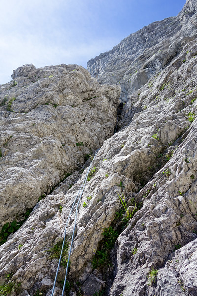 """The """"Verschneidung"""" is not too difficult to find. We make good progress towards Salzburger Weg, that starts after this pitch."""