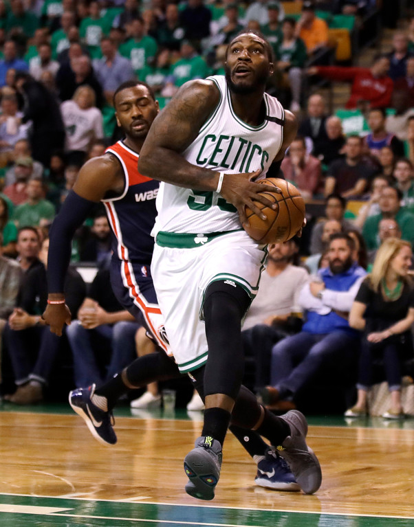 . Boston Celtics forward Jae Crowder (99) drive to the basket during the first quarter of a second-round NBA playoff series basketball game in Boston, Wednesday, May 10, 2017. (AP Photo/Charles Krupa)
