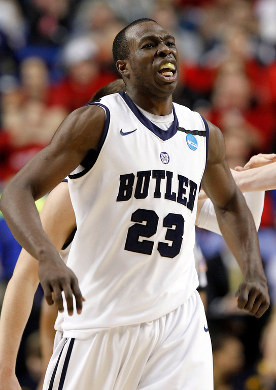 . Butler forward Khyle Marshall (23) reacts during the second half of their second-round game in the NCAA college basketball tournament against Bucknell, Thursday, March 21, 2013, in Lexington, Ky. Butler won 68-56. (AP Photo/James Crisp)