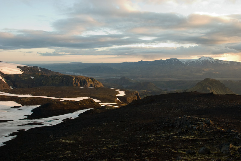 Hér sjáum við í Þórsmörk. Kl. 4.08