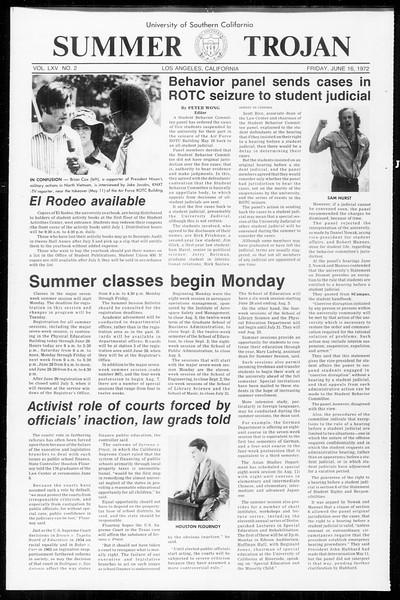 Summer Trojan, Vol. 65, No. 2, June 16, 1972