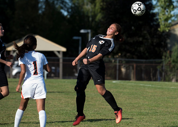 e09/18/19 Wesley Bunnell | StaffrrThe E.C. Goodwin girls soccer team was defeated 4-1 by Bullard Havens Tech on Wednesday night. Jinalexania Rivera (15).