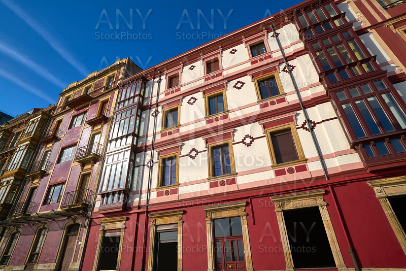 Gijon facades of Asturias in Spain