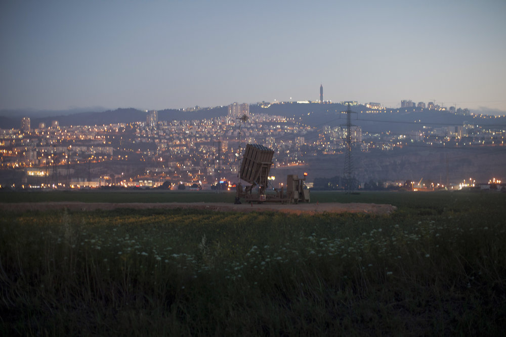 ". An ""Iron Dome\"" short-range missile defense system is pictured near the northern Israeli city of Haifa on May 5, 2013. Israel carried out a pre-dawn air strike near Damascus, targeting Iranian missiles destined for Lebanon\'s Hezbollah in the second such raid on Syria in three days, a senior Israeli source said.    AHMAD GHARABLI/AFP/Getty Images"