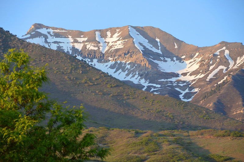 2012-5-13 ––– The snow is quickly melting. This is shot from my driveway looking east towards Mt. Timpanogos. I plan to hike it again in August if possible.