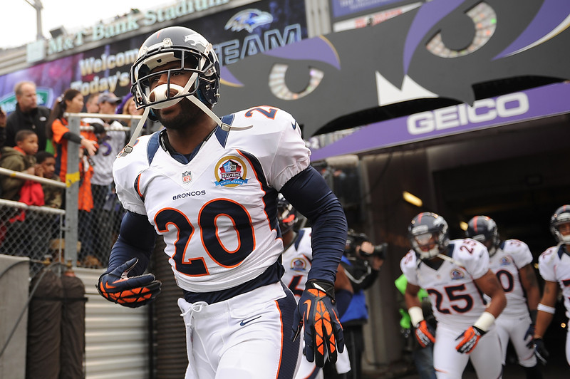 . Denver Broncos strong safety Mike Adams #20 takes the field for their game against the Baltimore Ravens at the M&T Bank Stadium, in Baltimore , MD Sunday December 16, 2012.      Joe Amon, The Denver Post