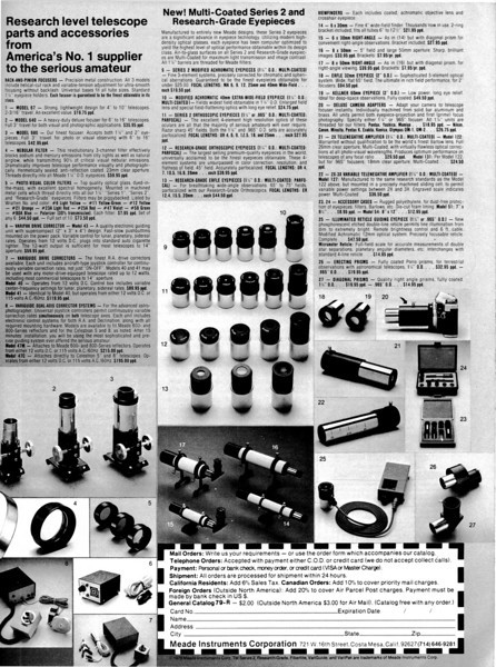 """Between 1977 and 1979 Meade had introduced a """"Series 2"""" Orthoscopic line of eyepieces available in both the 1.25 inch barrel size or the Japanese standard barrel 0.965 inches. The """"Research Grade"""" line of both Erfles and Orthoscopic are of course retained and were successful for many more years before production ended. Both the Series 2 Orthoscopic eyepieces and Research Grade are all described as multi-coated and parafocalized.  Note that several 2 inch eyepieces are also advertised - a 60 mm Kellner and a 32mm Erfle . (They are not described under a Research or Series 2 ocular.) This is per S & T - Sept 1979."""