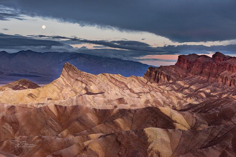 Zabriskie Point Moonset, Death Valley