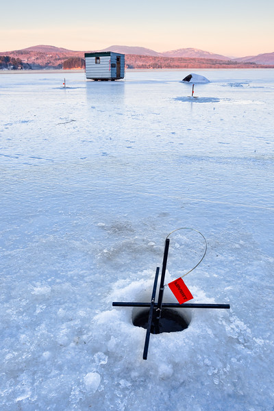 Ice Fishing at Dawn, Wilton, Maine  -88139-88140