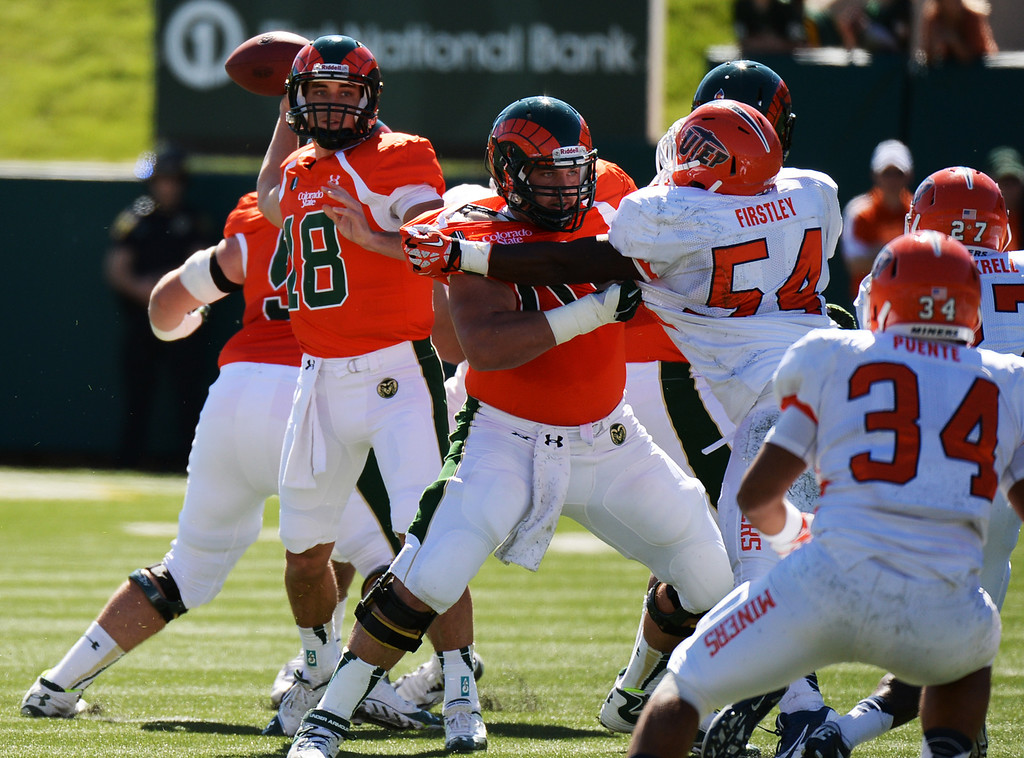 . FORT COLLINS, CO - September 28 : QB Garrett Grayson of Colorado State University (18) looks to make a pass in the 1st half of the game at Hughes Stadium. Fort Collins, Colorado. September 28, 2013. (Photo by Hyoung Chang/The Denver Post)