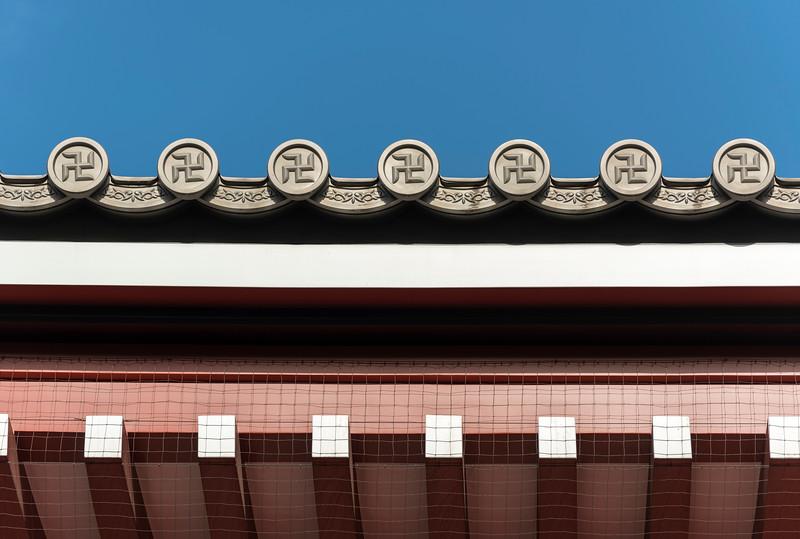 Detail of roof, Senso-ji Temple in Asakusa, Tokyo, Japan