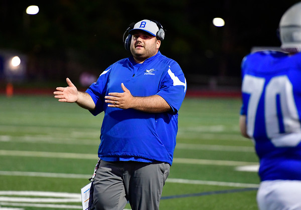 9/20/2019 Mike Orazzi | StaffrBristol Eastern Head Football Coach Anthony Julius during Friday night football in Bristol. r