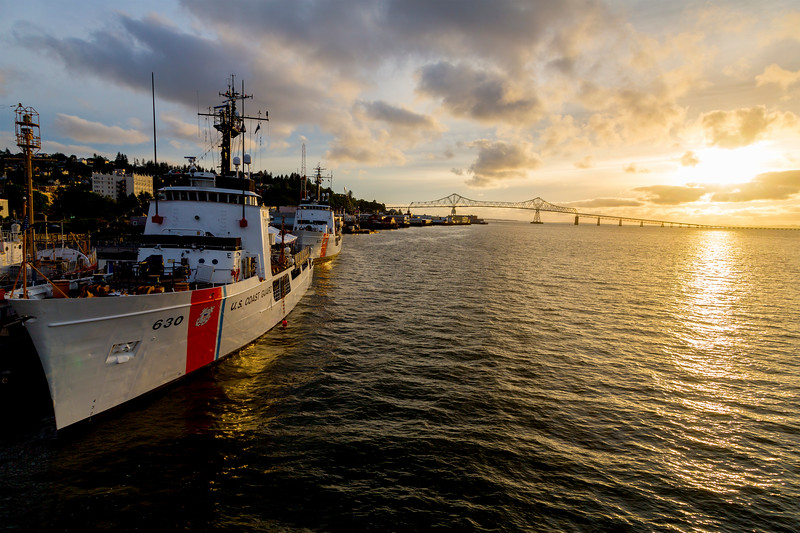 The first evening: We dock next to a Coast Guard vessel, just East of the Astoria Bridge.