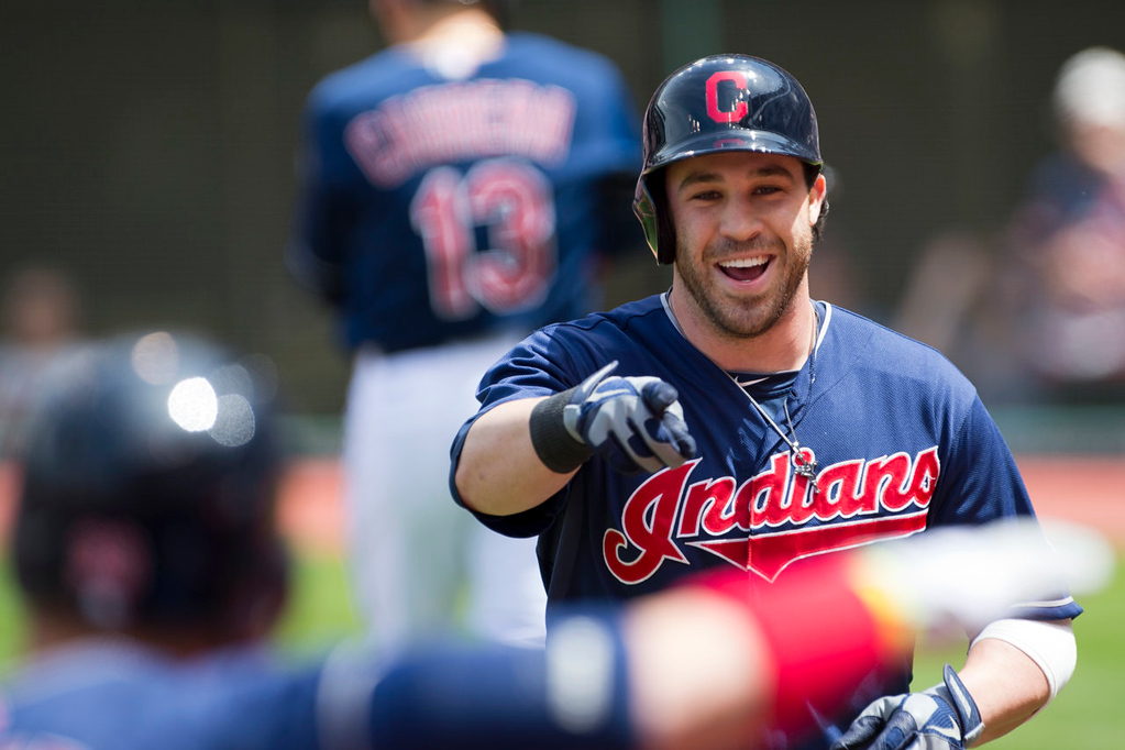 . Jason Kipnis of the Cleveland Indians celebrates after a solo home run during the first inning. (Photo by Jason Miller/Getty Images)