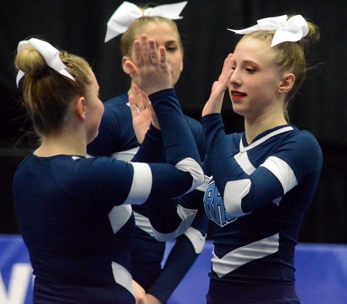 The Richmond competitive cheer team finished runner-up at the Division 3 state finals on Saturday from the DeltaPlex in Grand Rapids. The Blue Devils scored a 771.50 total for second while Notre Dame Prep won with a 776.48. (Macomb Daily photo gallery by Drew Ellis)