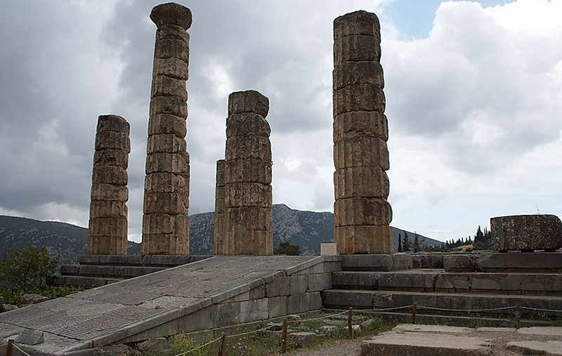 The entrance to the Temple of Apollo at Delphi. Also the home of the priestess of the Oracle.