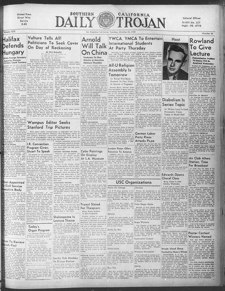 Daily Trojan, Vol. 30, No. 28, October 25, 1938
